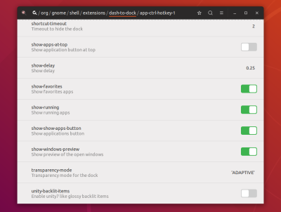 Ubuntu Dconf Dash To Dock settings