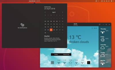Gnome Weather app time date indicator Ubuntu