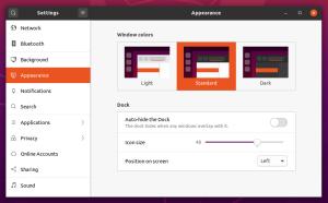 Ubuntu 20.04 Dock settings